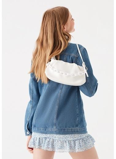 Mavi Turuncu Çapraz Çanta Beyaz